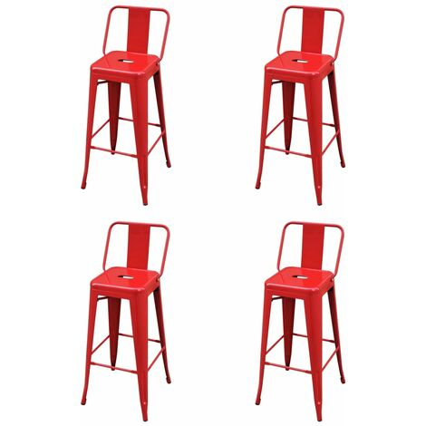 Bar Stools 4 pcs Red Steel19146-Serial number