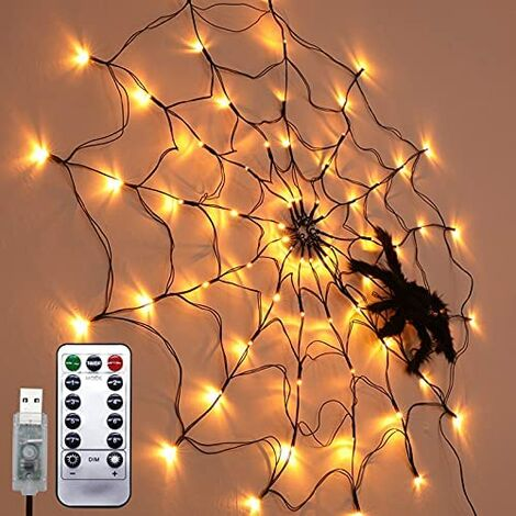 Halloween LED Decoration Spider Canvas Lights Inner and Outdoor Atmosphere Display Festival Accessories Ghost Remote Control Lights