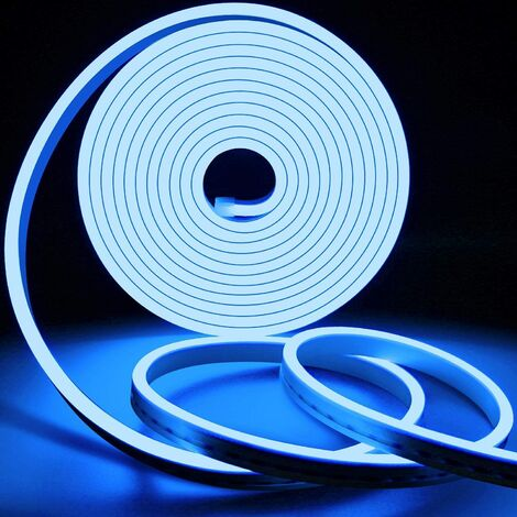 Flexible Neon Light Strips, Waterproof Neon LED Strip Light with Power Adapter and Controller, Perfect for Outdoor Indoor Decor - Blue