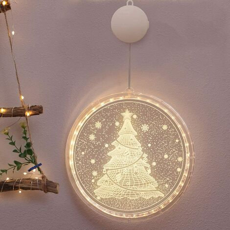 Christmas Decoration LED Garland Bright Window Suspended Decorative 3D Chain Light Christmas Lantern Christmas Tree Suspended Lights For Outdoor Interior (Christmas Tree)