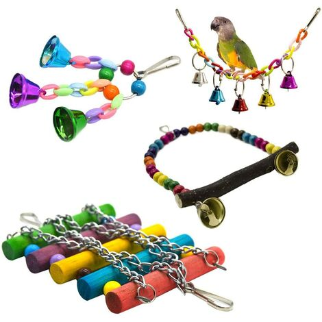 4pcs / set of parrot cage toy hanging swing stand hanging bridge coc rope swing birds toys bell colorful pearls, small cages parakeet decorative accessories