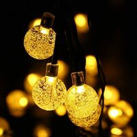 Solar Light Garland, Fairy Lights 50 LED Crystal Balls IP65 Waterproof, USB Connector Extra, 8 Modes Decorative Lights Interior and Outdoor, Home / Garden / Party / Patio / Party / Wedding (hot white)