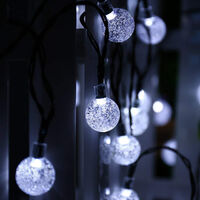 Solar Light Garland, Fairy Lights 50 LED Crystal Balls IP65 Waterproof, Usb Connector Extra, 8 Modes Decorative Lights Interior and Outdoor, Home / Garden / Party / Patio / Party / Wedding (cold white)