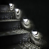 Exterior Solar Lamp, with Star Lights, Solar Fence Light, Interior and Outdoor with Automatic Detection Solar Lamp for Path, Garden, Stairs - 4pcs