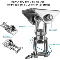 Innovative ceiling hook with 304 stainless steel 500kg capacity 360 ° rotation, suspension for concrete wood sets, hanging chair, hanging lamp, hammock, yoga, with 4 fixing screws