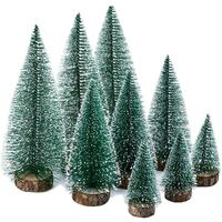 9 pieces of mini Christmas tree green, miniature artificial Christmas tree, miniature artificial christmas tree, Christmas tree ski equipment, small, with wooden base, for Christmas decoration / table decoration / DIY / showcase, 3 sizes