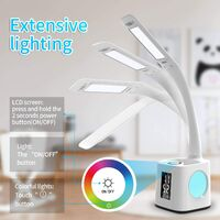 Children's desk lamp with USB loading port with 3 levels of adjustable brightness colorful night light with pen holder / clock screen / alarm / touch control 8W 2A reading lamp (