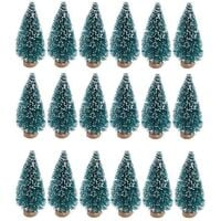 24 pieces of mini artificial christmas tree in sisal snow and bottle brush based on wood plastic winter snow decoration table Christmas party tree c