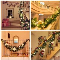 Christmas tree garland 270 cm, artificial christmas tree wreath with LED lights decoration, for the Christmas tree doorway stair fireplace (red) (