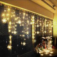 Curtain Light LED Light Garland Star 75LED 3 * 0.8 m Luminous Garland Window Decoration Christmas Birthday Terrace, Waterproof IP44 (