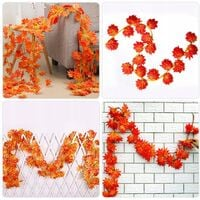 Fall of Artificial Plant Autumn, 12 Strongs (90 Feet) Artificial Maple Leaf Red Maple Leaf Vine Lierre Green Leaves Crown of Autumn Leaves
