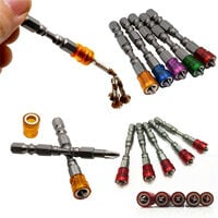 5 Pieces S2 Screwdriver Magnetic Crosshead Steel Tip PH2 Screwdriver Set for Dry Partition Screws 1/4 Inch Handle - Multicolor -