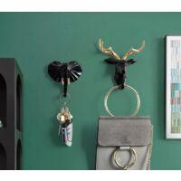4 pieces hook hook hook animal hook coat holder key shelf (black