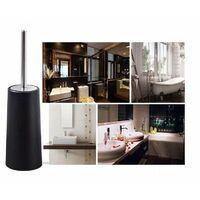 Long-sleeved stainless steel sleeve brush, toilet cleaning brush, soft-haired toilet brush head, 10.5 * 38.5 cm matt black