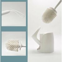 Silicone toilet brush with long-sleeved flexible plastic cleaning brush, 12.6 * 53 cm black