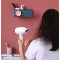 Hair Dryer Holder Free Punching Bathroom Toilet Storage Holder Wall Holder Hair Dryer Holder (Dark Blue)