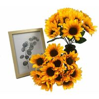 Artificial plants, artificial flowers, artificial flowers, ten teeth sunflowers, artificial plants, garden sunflowers and green plants decoration (* 4)