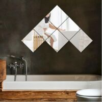 Soft mirror wall-mirror stickers Self adhesive wallpaper Acrylic mirror stickers full-length bathroom decoration DIY mirror wall stickers DIY mirror wall stickers (square (silver (6 pieces))