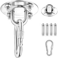 Ceiling hook, wall mounting hook for hanging hammock, yoga, hanging chair and boxing bag, 500kg Stainless steel capacity Trainer suspension kit with carabiner and mounting screws