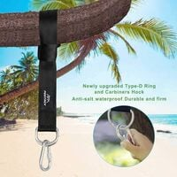 Lot of 2 Ultra Hammock Kit Resistant to Heavy Straps Pendant 150cm With D-Ring - Two Hooks Cakes - Max 500kg Charge - 100% Non-Expandable Terrylene Straps - Adapted to Hammock