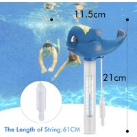 Floating Pool Thermometer, Water Temperature Thermometer with Cord and Breakfast for All Outdoor Pools and Interior Spas Aquariums Jacuzz Fish Ponds (Blue Whale)