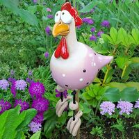 Decorative Statues Decorative Pool Garden, Funny Resin Chicken Garden Decoration Figurine Sculptures & Statues Outdoor Fairy Garden Decoration (Pink)