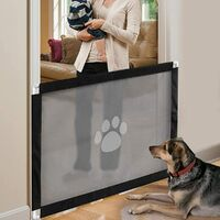 Magic Dog Gate, Portable Dog Security Speaker, Easy to Install and Pet Lockable Keep Dogs away from the kitchen / upstairs (180 * 72cm, black)