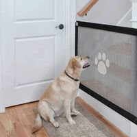 Dog magic door, portable dog safety chamber, easy to install and lockable for pets keep the dogs away from the kitchen / upstairs (100 * 80cm, black)