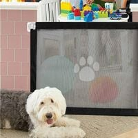 Magic Dog Door, Portable Dog Security Speaker, Easy to Install and Pet Lockable Keep Dogs away from the kitchen / upstairs (110 * 72cm, black)