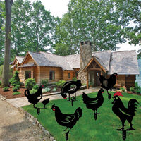 6pcs Realistic Poule, Chicken Yard Art, Cock Animal Silhouette, Chicken Garden Garden Garden Floor Decoration, Hollow Rooster Statue Decor for the Court, Evide, Black