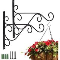 2 pieces mounting wall mural balcony, wrought iron suspension hook, plant suspension hooks with screws, for garden balcony lantern plants deco with
