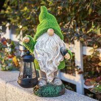 Statue Outdoor Garden Fairy Ornaments of Solar Energy Garden, Resin Hanging The Solar Lantern Figurine Statue Exterior Accessories