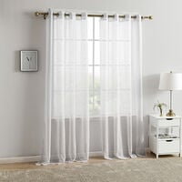 White outdoor curtain 140x220cm with eyelets (2 room) - water repellent, anti-dirt, sun protection, breeze and view for veranda, terrace, balcony