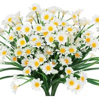 Artificial Daisy Flower, 4pcs Artificial Plastic Flower, Outdoor UV Resistant Greenery Shrubs Plants Indoor Outdoor Hanging Home Garden Decoration Plant (White)