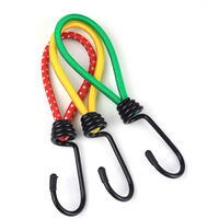 Elastic tensioners with metal hooks (set of 15) - 15 cm - Tensioner Red Crochet Sandow Very Resistant for Camping, Tarps, Canopy Tents (Yellow * 5 + Red * 5 + Green * 5)