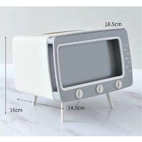 TV Box TV Storage Box for Domestic Kitchen Fabrics Living Room Drawer Box Multifunction Mobile Phone Holder, White