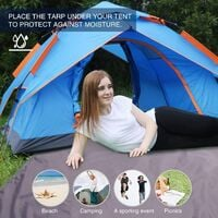 Waterproof Camping Tent Tarp , 4 in 1 Tent Footprint Multifunctional for Camping Hiking Survival Tarp, Lightweight Compact(180*210cm)