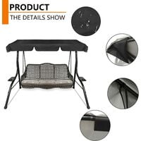 Replacement Canopy for Swing Seat,Waterproof Resistant Swing Canopy Outdoor Cover,UV Protection Patio Hammock Cover Swing Chair Top Cover Roof for Garden/Outdoor (164*114*15cm)
