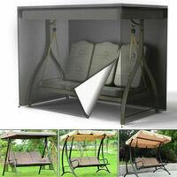3 Seater Garden Swing Cover Waterproof Heavy Duty Hammock Cover Windproof Swing Sunshield Covers 220*125*170cm (vert)