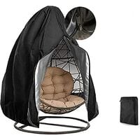 Egg Chair Cover Double Patio Hanging Egg Chair Cover Swinging Egg Chair Cover Polyester Taffeta Waterproof Heavy Duty Garden Rattan Wicker Swing Chair Outdoor Furniture Cover ( Black)