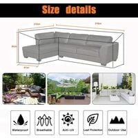 Garden Furniture Covers, 210D Heavy Duty Oxford Fabric l Shaped Garden Furniture Covers, Waterproof Sofa Protect Set (215*215*87cm)