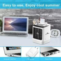 Portable Air Cooler, Personal Mini Air Conditioner Fan with 3 Cooling Speeds and 7 Colors Night Light Desktop Cooling Fan, Evaporative Air Cooler for Home Bedroom Office