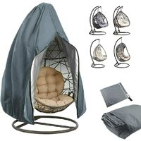 Egg Patio Hanging Egg Chair Cover Outdoor Swing Egg Chair Cover Waterproof Anti-dust with Zipper 210D Oxford Fabric Veranda Garden Lawn Chair Protector Furniture Accessory 115x190cm (Grey)