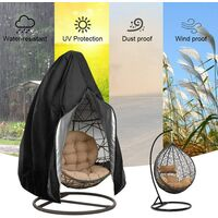 Egg Patio Hanging Egg Chair Cover Outdoor Swing Egg Chair Cover Waterproof Anti-dust with Zipper 210D Oxford Fabric Veranda Garden Lawn Chair Protector Furniture Accessory 115x190cm (Black)