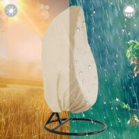 Patio Hanging Chair Cover 210D Oxford Fabric Heavy Duty Waterproof Veranda Patio Cocoon Egg Chair Garden Furniture Protective Cover Water and UV Resistant (Beige)