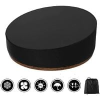 Patio Daybed Cover Round, Rattan Daybed Cover Waterproof Dustproof Patio Garden Furniture Covers with Storage Bag for Rattan Day Bed Sun Lounger (Blac) 228x83CM