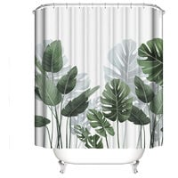 Shower Curtain with Hooks, Banana Leaves Tropical Palmie Green Plants Pattern, Waterproof Fabric and Resistant Mold for Bathroom, 100% Polyester, 180 x 180cm