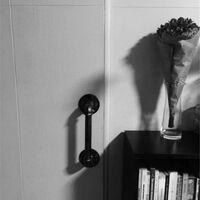 Set of 2 industrial pipe handle door handle, support bar, barn door handles, rustic antique cast iron, black, 30 cm long (S (25D, 27L), black)