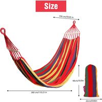 Hammock Outdoor-Garden Camping Travel Hammock, Portable Thickened and Widened Canvas Hammock, Hammock 280x150cm with Carry Bag, Perfect for Camping Outdoor/Indoor Patio Backyard Max Load 250kg