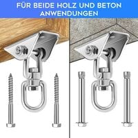2PCS Stainless Steel Swing Hangers, Heavy Duty 360°Swivel Hammock Hooks 1000LB Capacity for Concrete Wooden Sets Playground Porch Indoor Outdoor Seat Trapeze Yoga, GYM